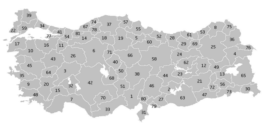 Provinzen in der Türkei